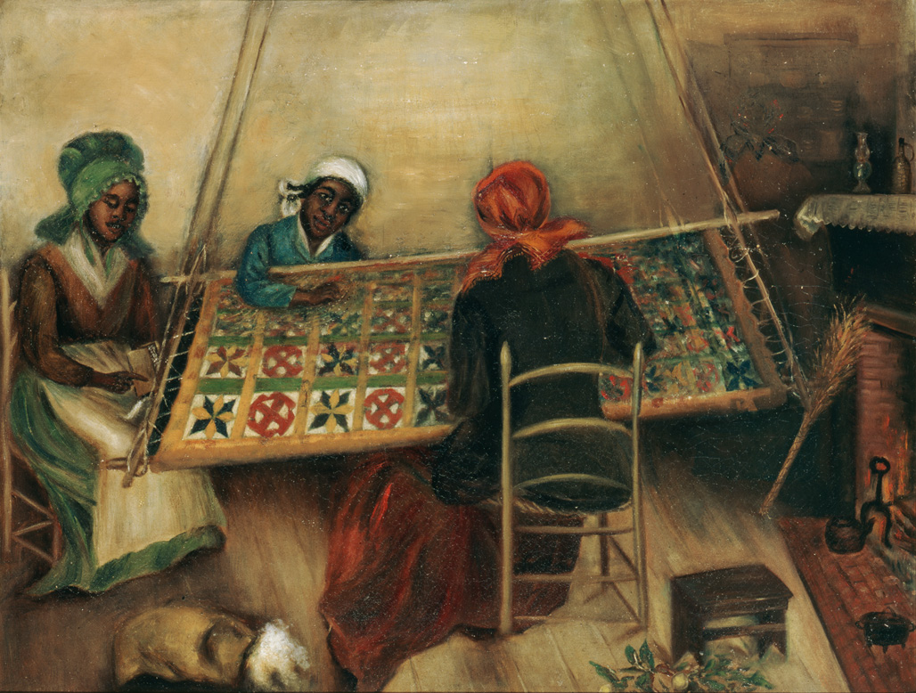 "1890-1910 painting ""Quilting Party"" by Mary Lyde Hicks Williams"