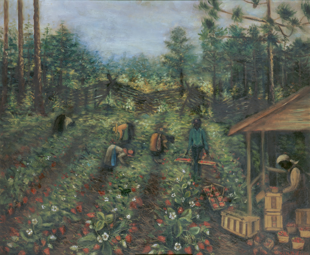 "1890-1910 painting ""Picking Strawberries "" by Mary Lyde Hicks Williams"