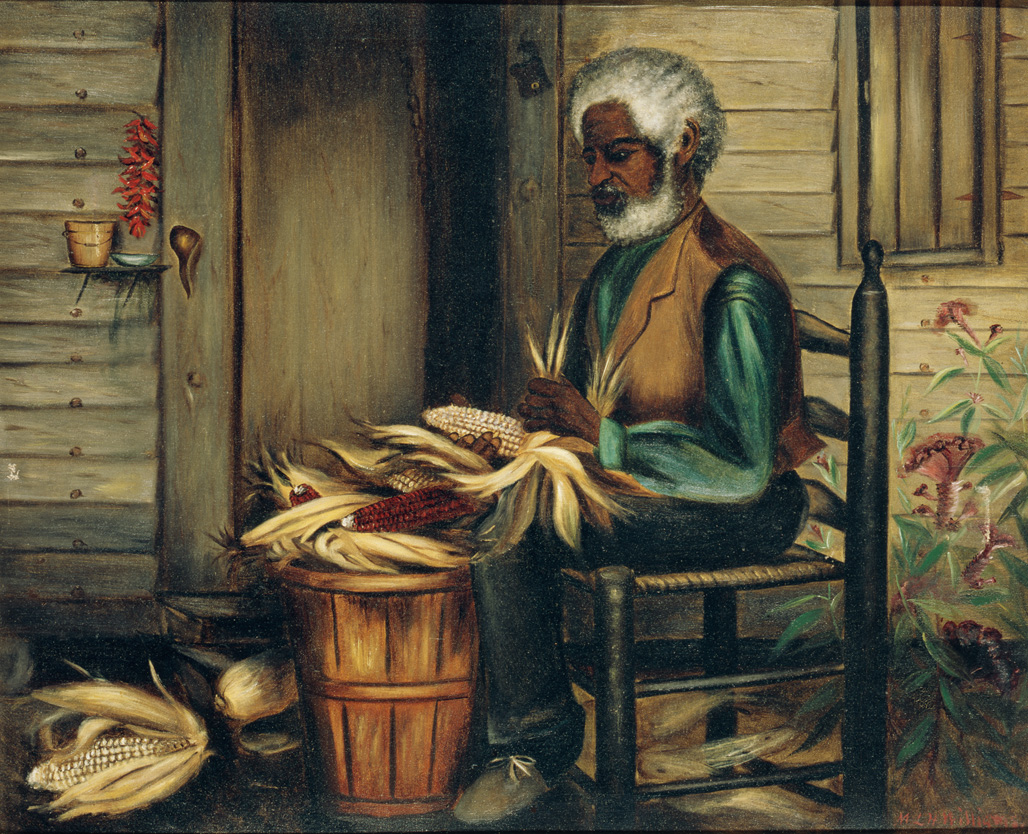 "1890-1910 painting ""Corn Shucking in Solitude "" by Mary Lyde Hicks Williams"