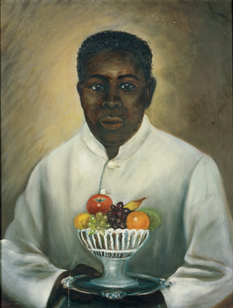 "1890-1910 painting ""Butler with Fruit Bowl "" by Mary Lyde Hicks Williams"
