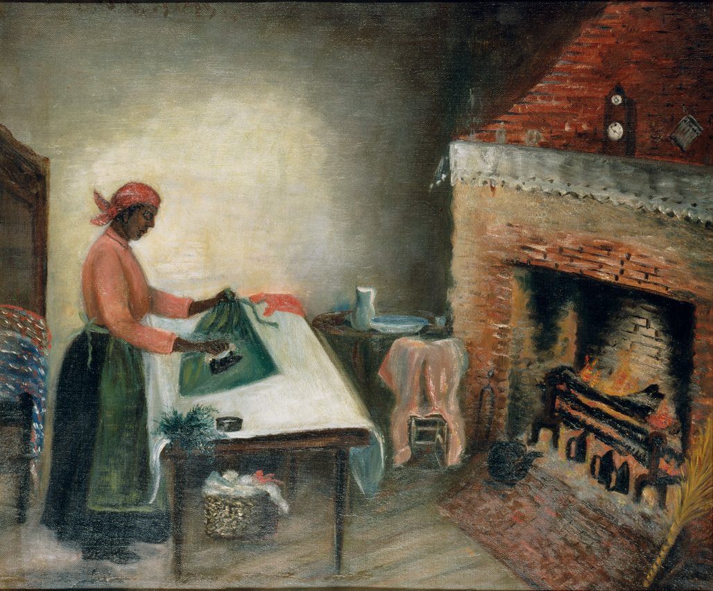 "1890-1910 painting ""Ironing Scene before a Log Fire"" by Mary Lyde Hicks Williams"