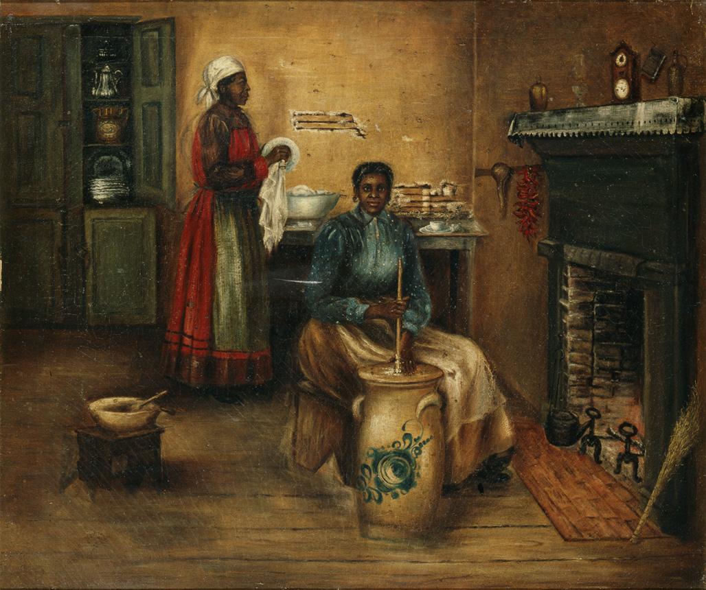 "1890-1910 painting ""Churning and Dish Washing"" by Mary Lyde Hicks Williams"