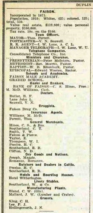 1913 Faison Merchants and others