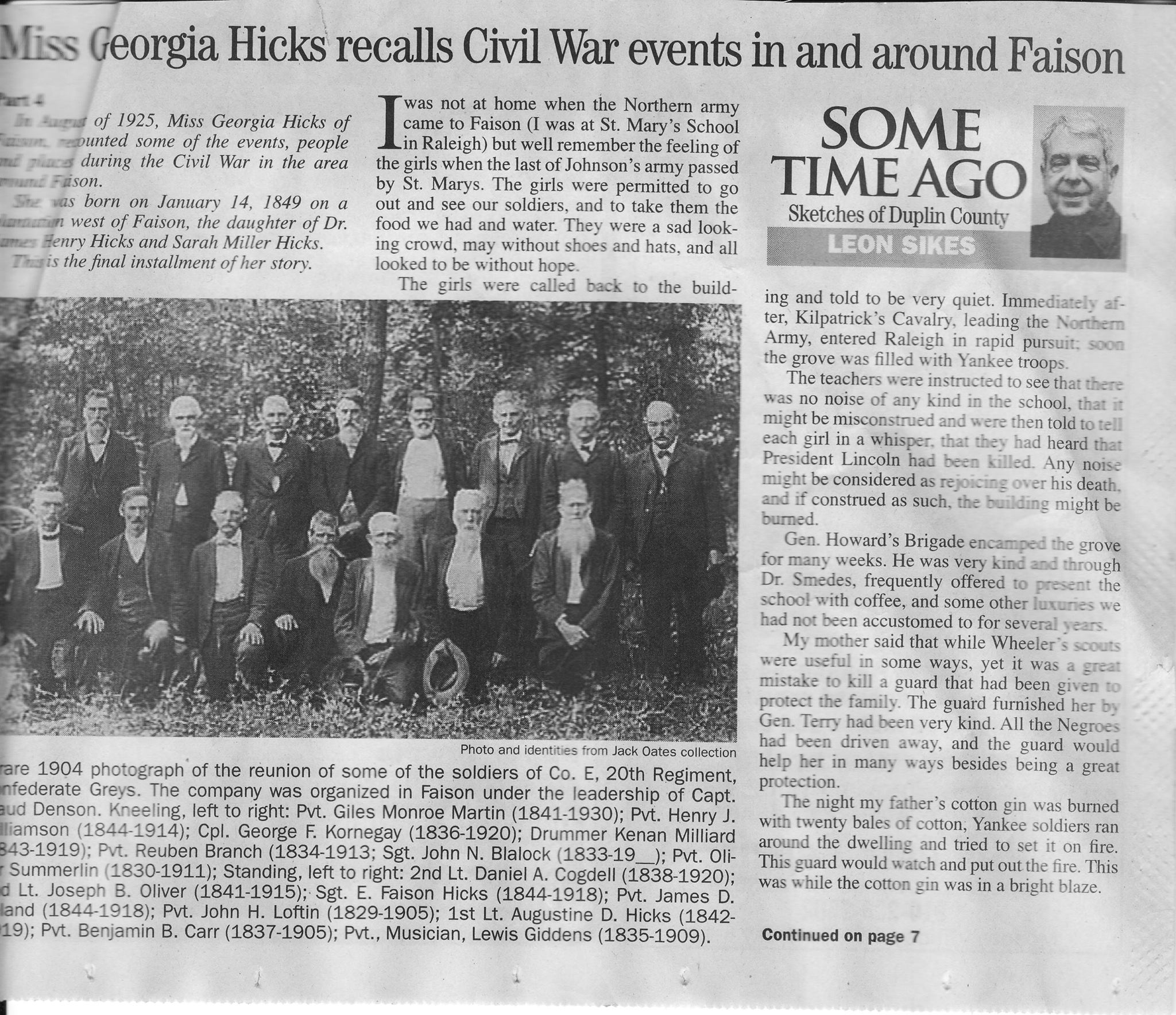 Georgia Hicks Civil War